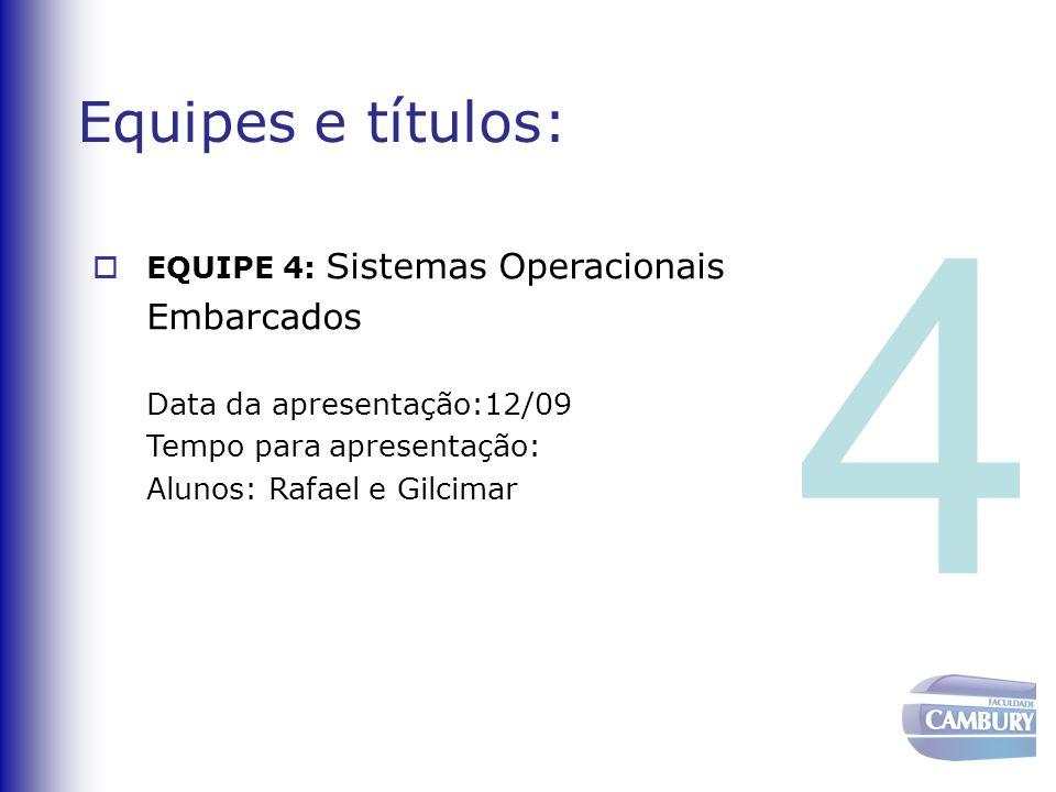 Equipes e títulos:  EQUIPE 5: Sistemas Operacionais de Tempo Real Data da apresentação:12/09 Tempo para apresentação: Alunos: Leandro e Georthon 5