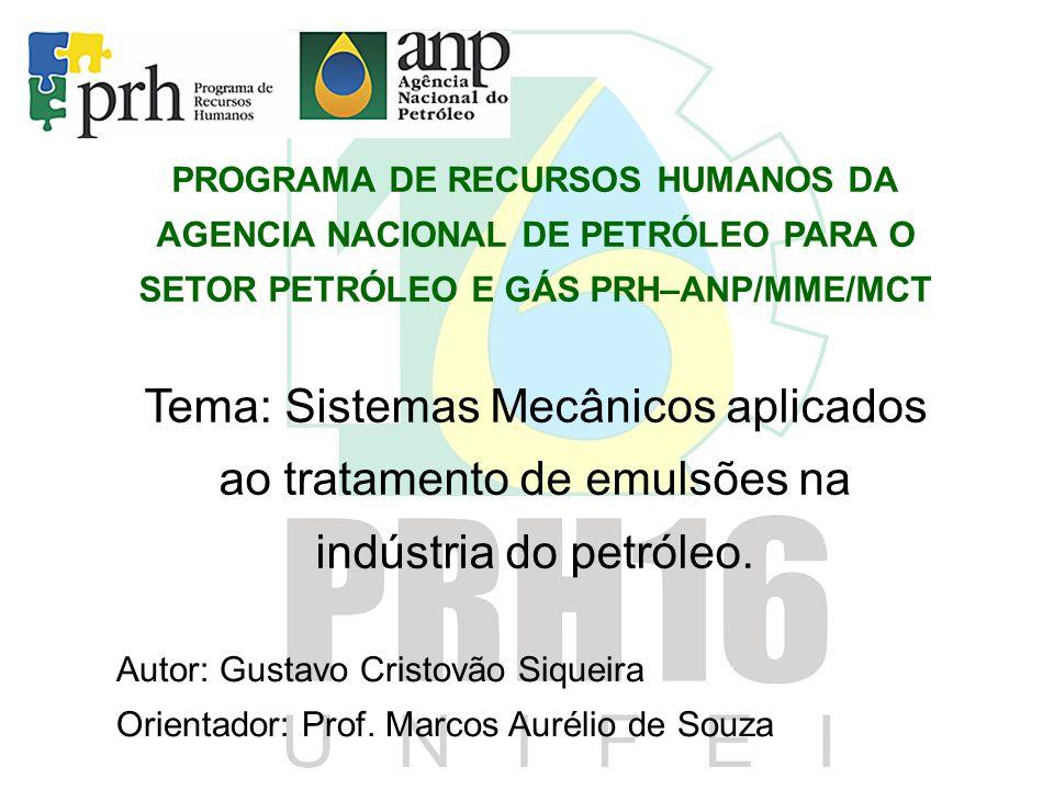 PROGRAMA DE RECURSOS HUMANOS DA AGENCIA NACIONAL DE PETRÓLEO PARA O SETOR PETRÓLEO E GÁS PRH–ANP/MME/MCT Tema: Sistemas Mecânicos aplicados ao tratame