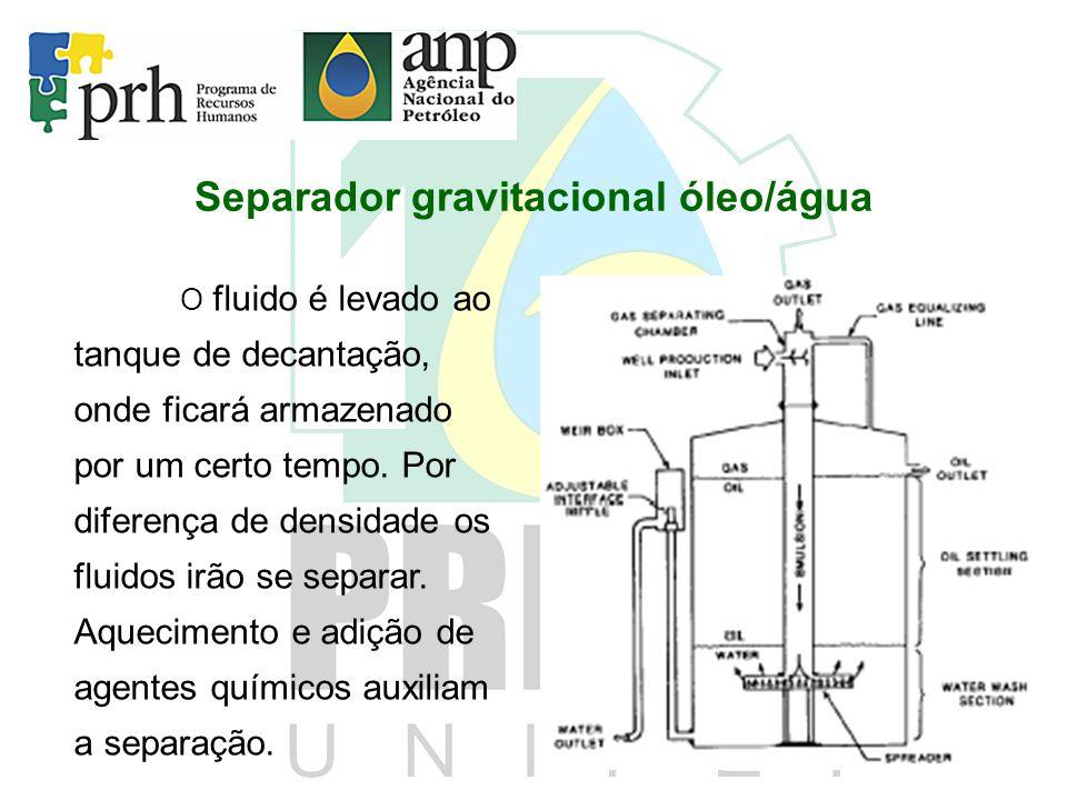 Separador gravitacional óleo/água O fluido é levado ao tanque de decantação, onde ficará armazenado por um certo tempo. Por diferença de densidade os