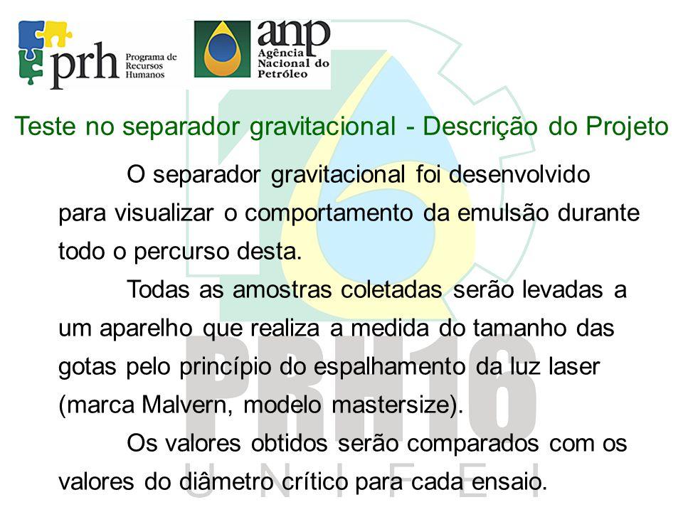 Teste no separador gravitacional - Descrição do Projeto O separador gravitacional foi desenvolvido para visualizar o comportamento da emulsão durante