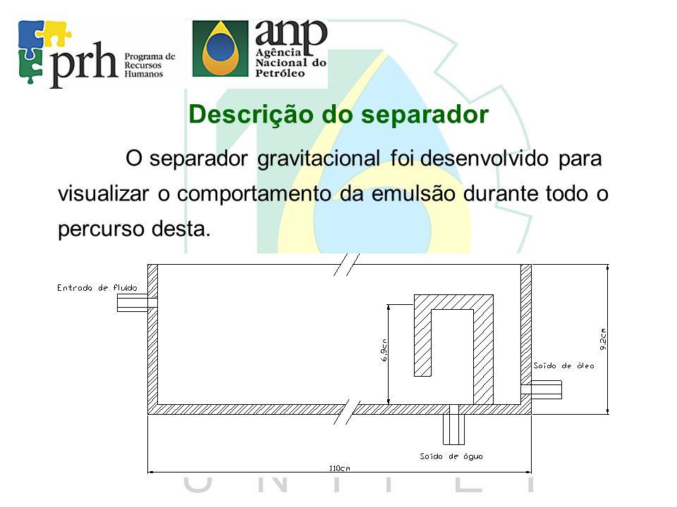 Descrição do separador O separador gravitacional foi desenvolvido para visualizar o comportamento da emulsão durante todo o percurso desta.