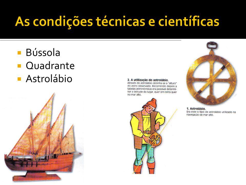  No domínio da construção naval, em Portugal aperfeiçoou-se na construção da caravela - uma embarcação de leme fixo à popa e vela triangulares, o que permite ao barco navegar na presença de ventos contrários.