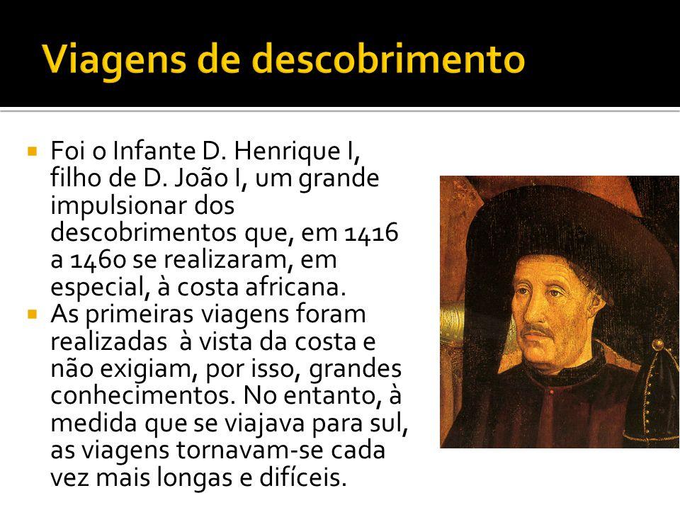  Foi numa das viagens em direcção à Costa de África que os portugueses localizaram os arquipélagos da Madeira (em 1419) e dos Açores (cerca de 1427).