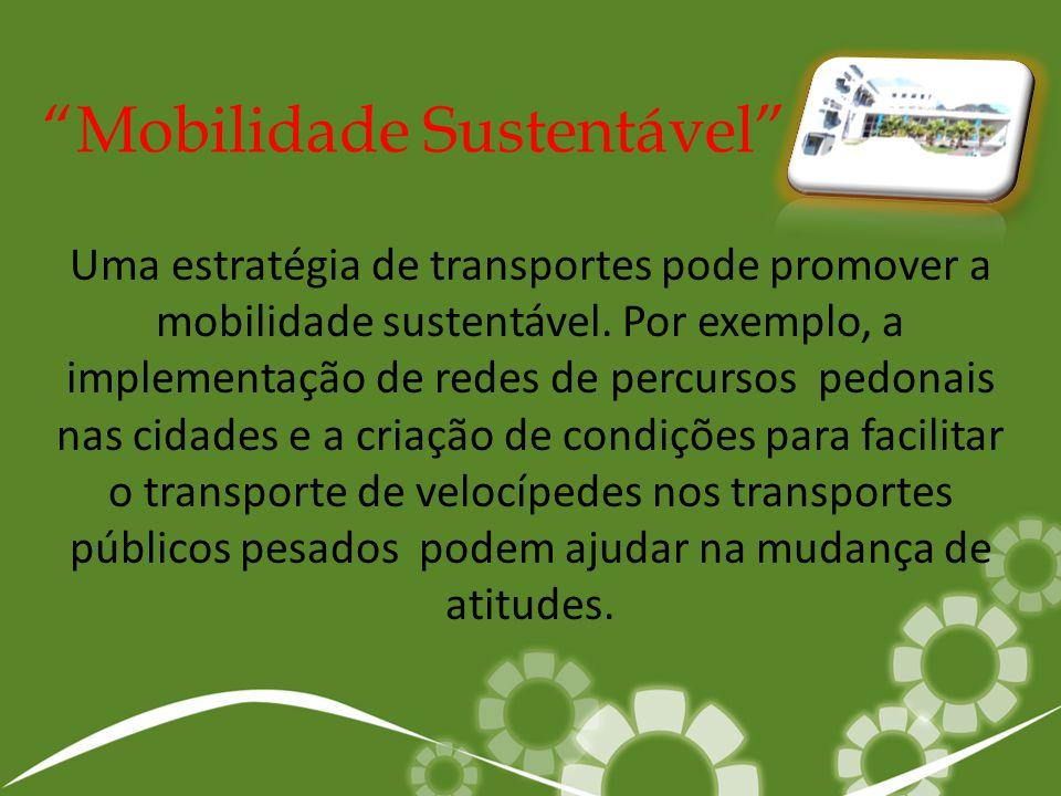 Uma estratégia de transportes pode promover a mobilidade sustentável. Por exemplo, a implementação de redes de percursos pedonais nas cidades e a cria