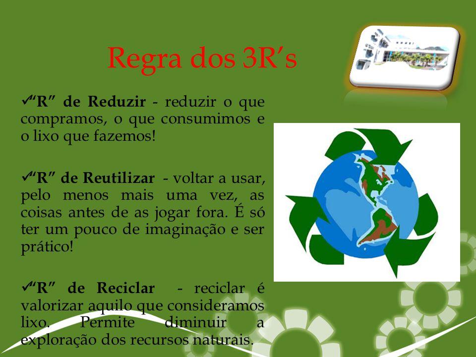 """Regra dos 3R's """"""""R"""" de Reduzir - reduzir o que compramos, o que consumimos e o lixo que fazemos! """"""""R"""" de Reutilizar - voltar a usar, pelo menos ma"""