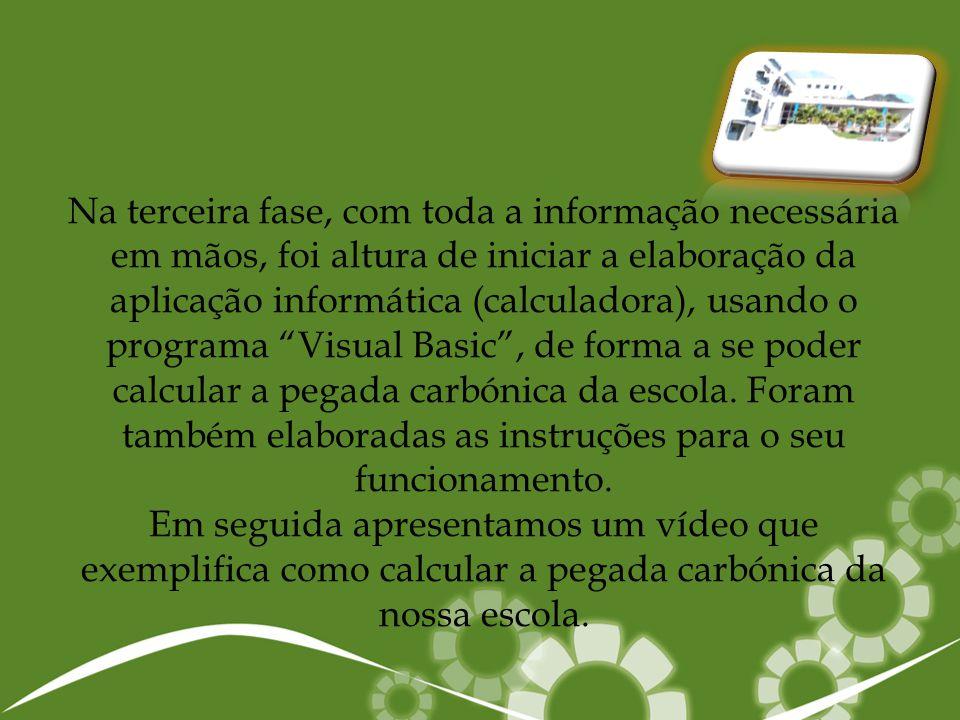 Na terceira fase, com toda a informação necessária em mãos, foi altura de iniciar a elaboração da aplicação informática (calculadora), usando o progra