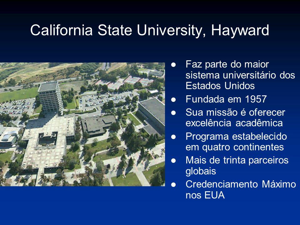 California State University, Hayward l Faz parte do maior sistema universitário dos Estados Unidos l Fundada em 1957 l Sua missão é oferecer excelência acadêmica l Programa estabelecido em quatro continentes l Mais de trinta parceiros globais l Credenciamento Máximo nos EUA