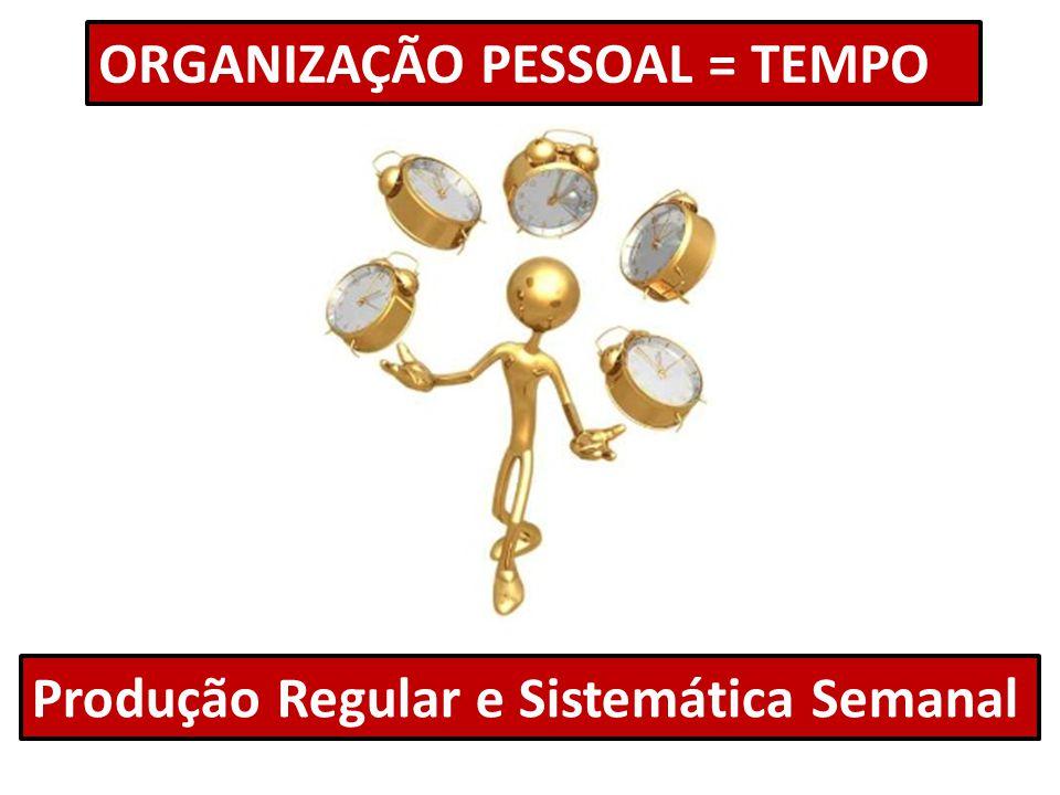 ORGANIZAÇÃO PESSOAL = TEMPO Produção Regular e Sistemática Semanal