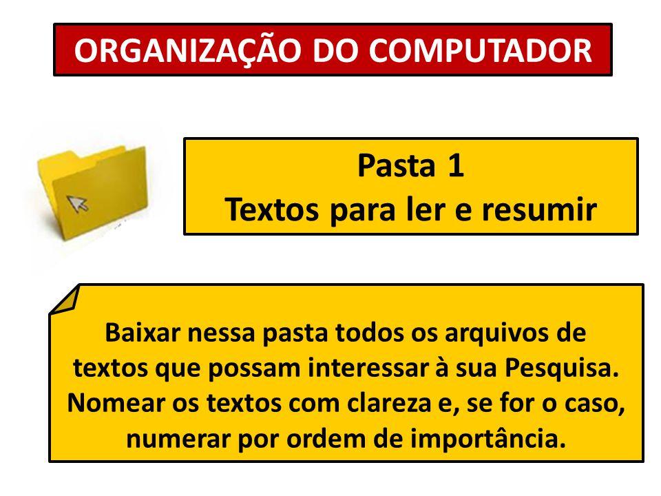 ORGANIZAÇÃO DO COMPUTADOR Pasta 1 Textos para ler e resumir Baixar nessa pasta todos os arquivos de textos que possam interessar à sua Pesquisa. Nomea