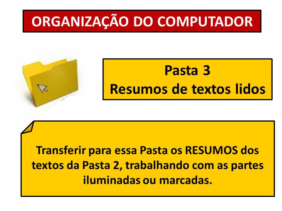 Pasta 3 Resumos de textos lidos ORGANIZAÇÃO DO COMPUTADOR Transferir para essa Pasta os RESUMOS dos textos da Pasta 2, trabalhando com as partes ilumi