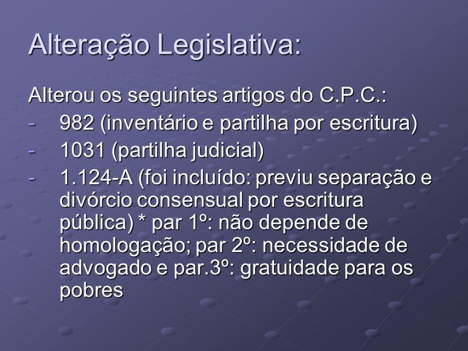 Alteração Legislativa: Alterou os seguintes artigos do C.P.C.: -982 (inventário e partilha por escritura) -1031 (partilha judicial) -1.124-A (foi incl