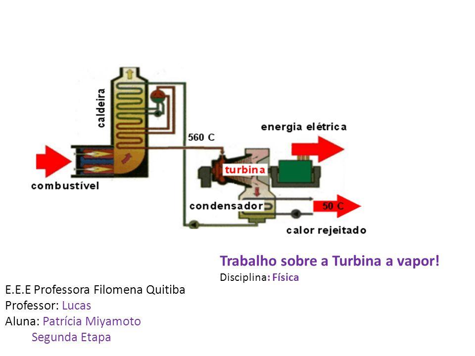 Trabalho sobre a Turbina a vapor! Disciplina: Física E.E.E Professora Filomena Quitiba Professor: Lucas Aluna: Patrícia Miyamoto Segunda Etapa