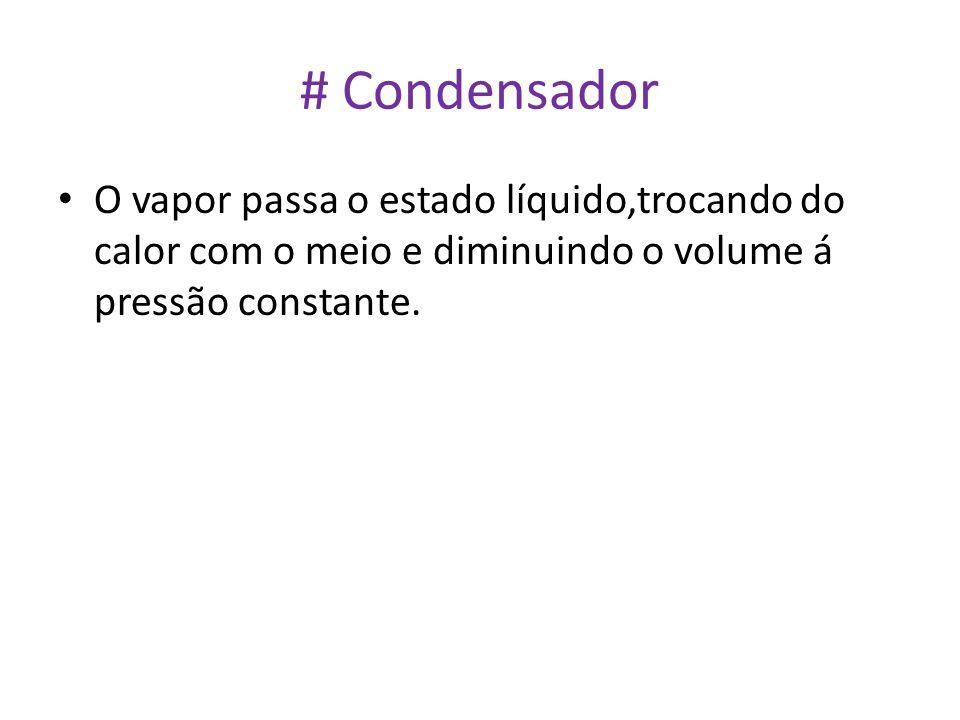 # Condensador • O vapor passa o estado líquido,trocando do calor com o meio e diminuindo o volume á pressão constante.