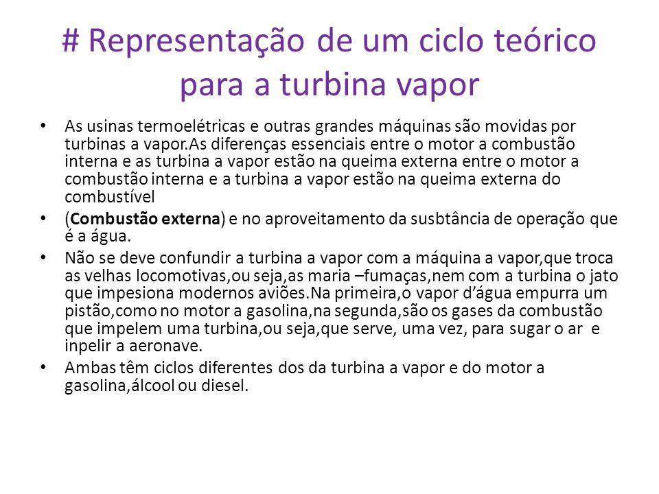 # Representação de um ciclo teórico para a turbina vapor • As usinas termoelétricas e outras grandes máquinas são movidas por turbinas a vapor.As dife