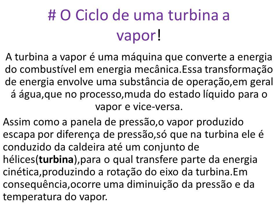 # O Ciclo de uma turbina a vapor! A turbina a vapor é uma máquina que converte a energia do combustível em energia mecânica.Essa transformação de ener