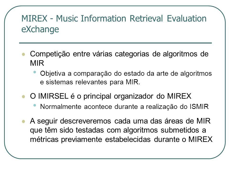 MIREX - Music Information Retrieval Evaluation eXchange  Competição entre várias categorias de algoritmos de MIR • Objetiva a comparação do estado da