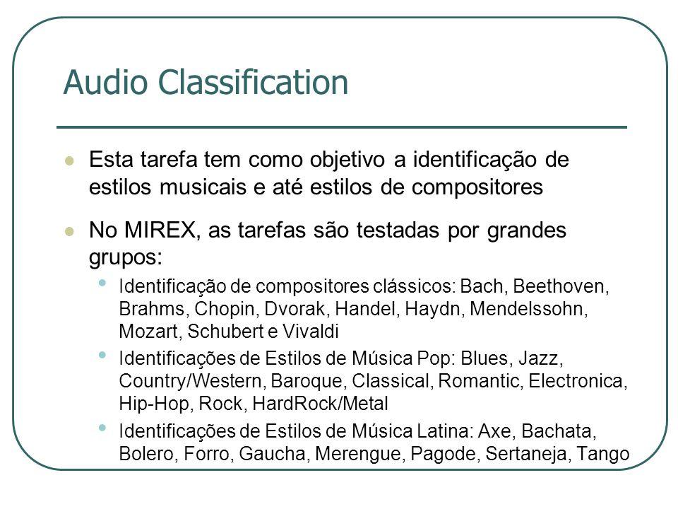 Audio Classification  Esta tarefa tem como objetivo a identificação de estilos musicais e até estilos de compositores  No MIREX, as tarefas são test