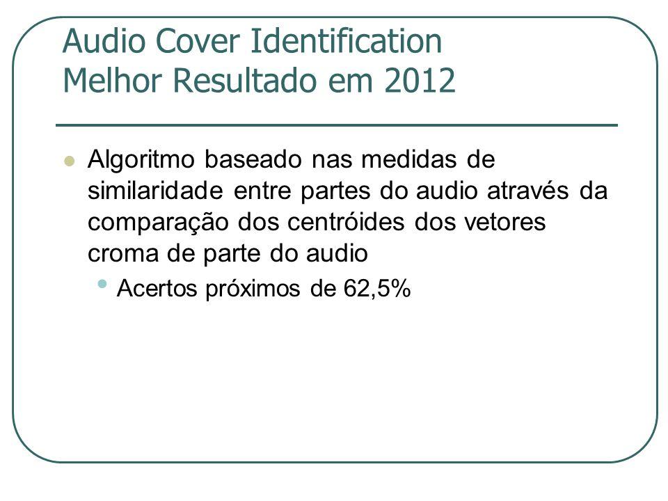 Audio Cover Identification Melhor Resultado em 2012  Algoritmo baseado nas medidas de similaridade entre partes do audio através da comparação dos centróides dos vetores croma de parte do audio • Acertos próximos de 62,5%