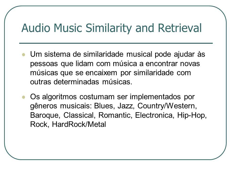 Audio Music Similarity and Retrieval  Um sistema de similaridade musical pode ajudar às pessoas que lidam com música a encontrar novas músicas que se encaixem por similaridade com outras determinadas músicas.