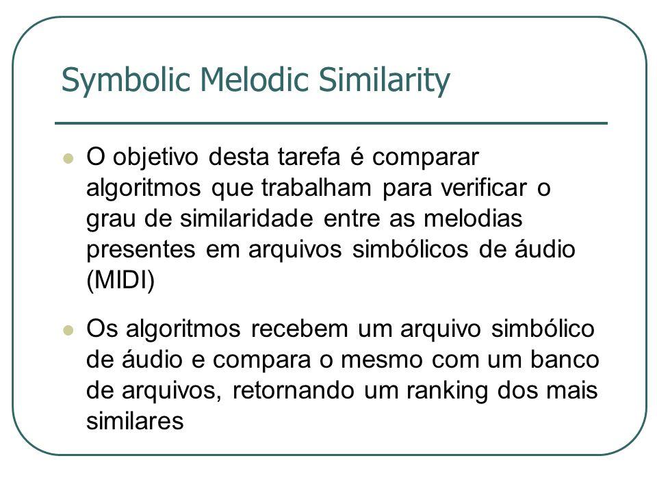 Symbolic Melodic Similarity  O objetivo desta tarefa é comparar algoritmos que trabalham para verificar o grau de similaridade entre as melodias presentes em arquivos simbólicos de áudio (MIDI)  Os algoritmos recebem um arquivo simbólico de áudio e compara o mesmo com um banco de arquivos, retornando um ranking dos mais similares
