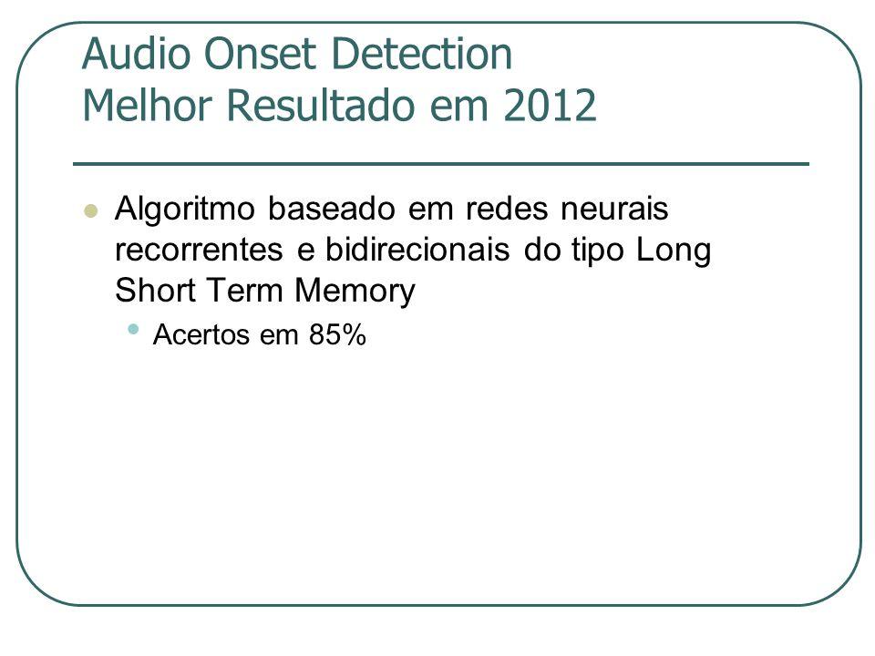 Audio Onset Detection Melhor Resultado em 2012  Algoritmo baseado em redes neurais recorrentes e bidirecionais do tipo Long Short Term Memory • Acertos em 85%