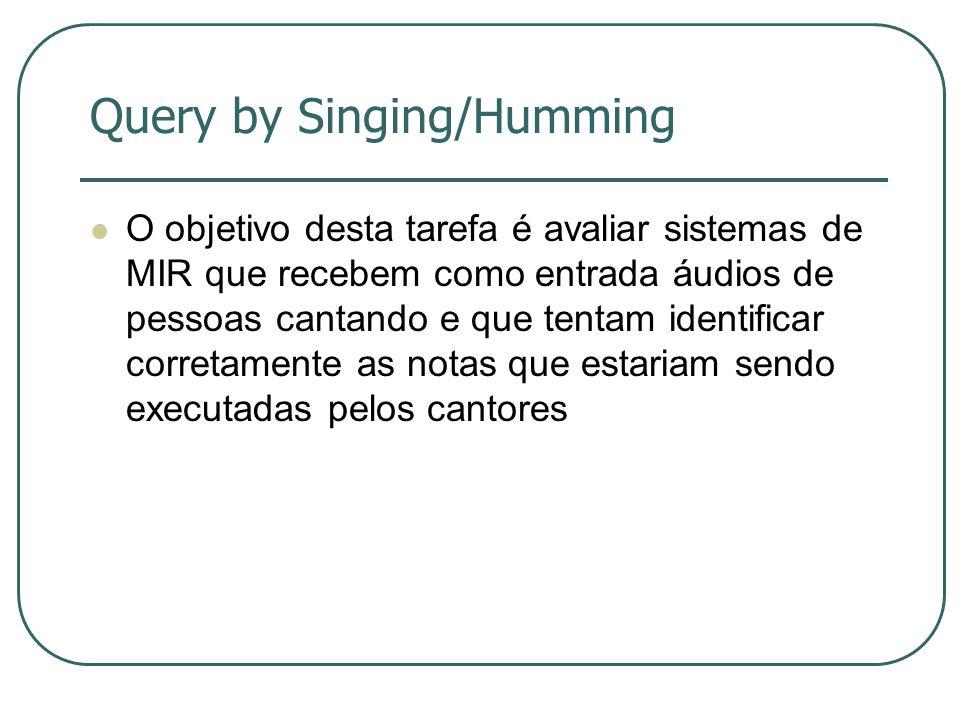 Query by Singing/Humming  O objetivo desta tarefa é avaliar sistemas de MIR que recebem como entrada áudios de pessoas cantando e que tentam identificar corretamente as notas que estariam sendo executadas pelos cantores