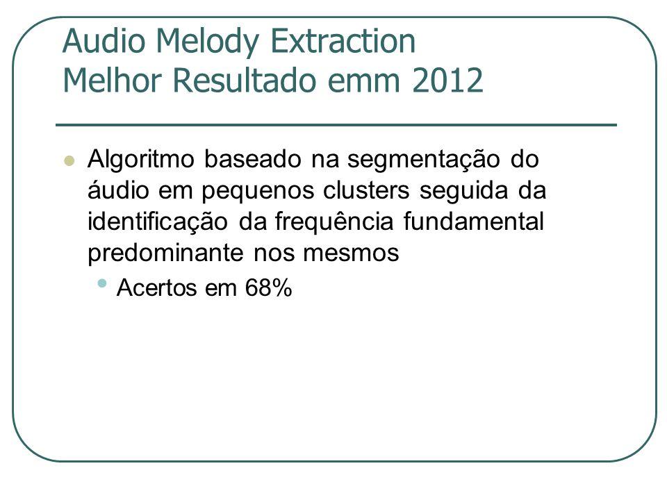 Audio Melody Extraction Melhor Resultado emm 2012  Algoritmo baseado na segmentação do áudio em pequenos clusters seguida da identificação da frequência fundamental predominante nos mesmos • Acertos em 68%