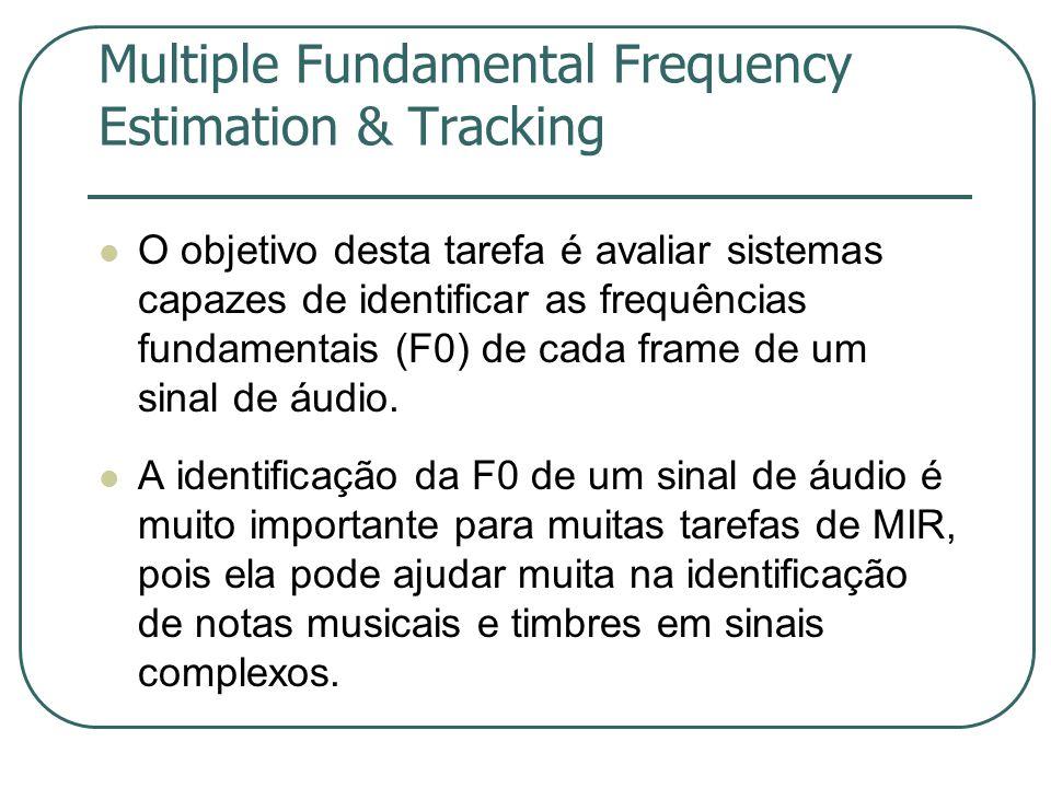 Multiple Fundamental Frequency Estimation & Tracking  O objetivo desta tarefa é avaliar sistemas capazes de identificar as frequências fundamentais (F0) de cada frame de um sinal de áudio.