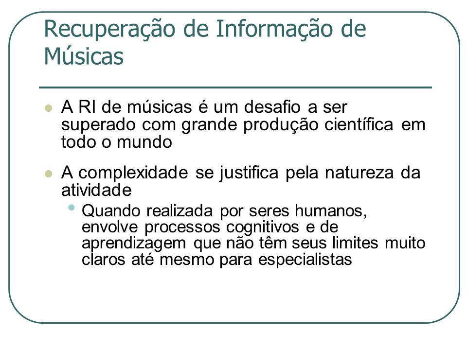 Recuperação de Informação de Músicas  A RI de músicas é um desafio a ser superado com grande produção científica em todo o mundo  A complexidade se