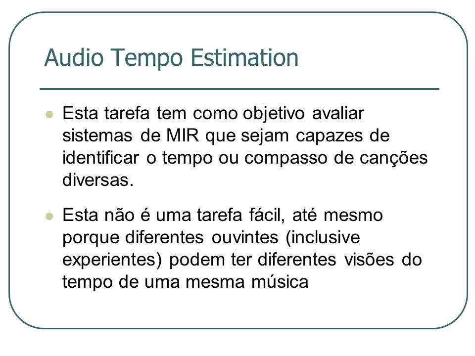 Audio Tempo Estimation  Esta tarefa tem como objetivo avaliar sistemas de MIR que sejam capazes de identificar o tempo ou compasso de canções diversas.