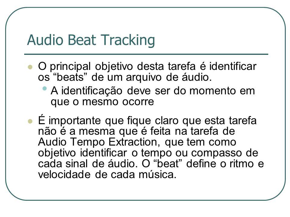 """Audio Beat Tracking  O principal objetivo desta tarefa é identificar os """"beats"""" de um arquivo de áudio. • A identificação deve ser do momento em que"""