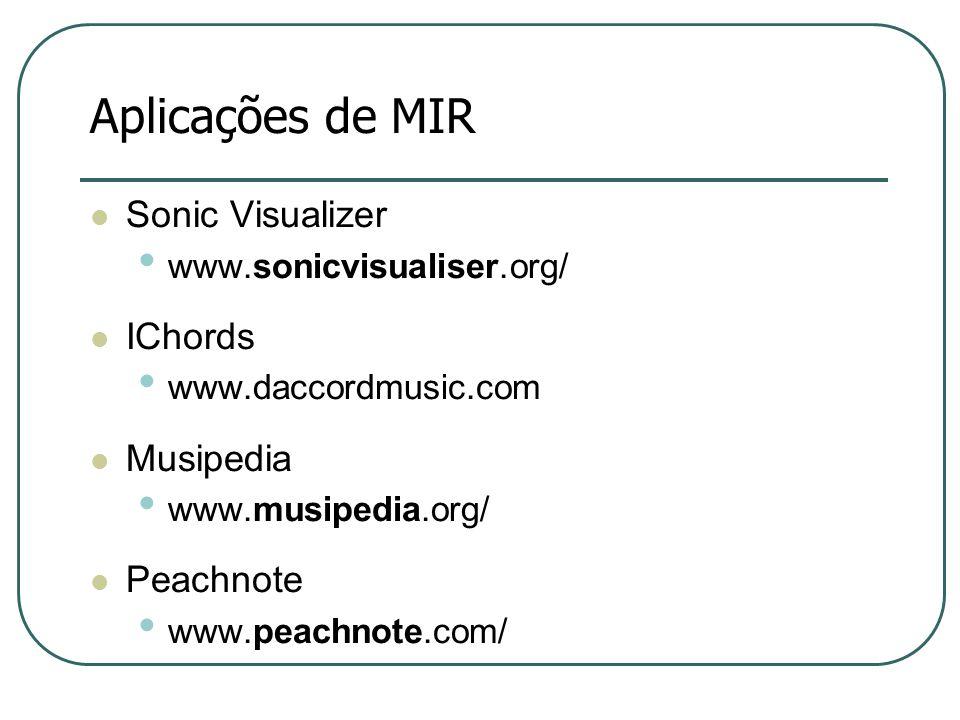 Aplicações de MIR  Sonic Visualizer • www.sonicvisualiser.org/  IChords • www.daccordmusic.com  Musipedia • www.musipedia.org/  Peachnote • www.peachnote.com/