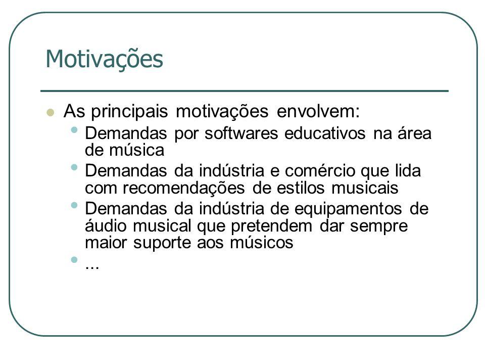 Motivações  As principais motivações envolvem: • Demandas por softwares educativos na área de música • Demandas da indústria e comércio que lida com