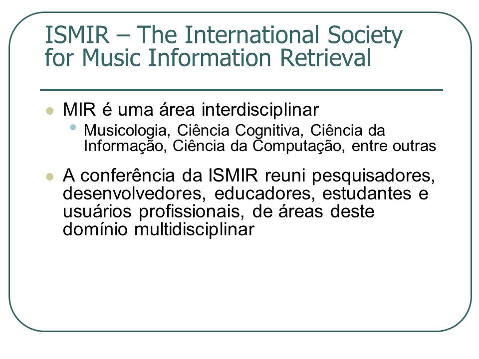 ISMIR – The International Society for Music Information Retrieval  MIR é uma área interdisciplinar • Musicologia, Ciência Cognitiva, Ciência da Infor