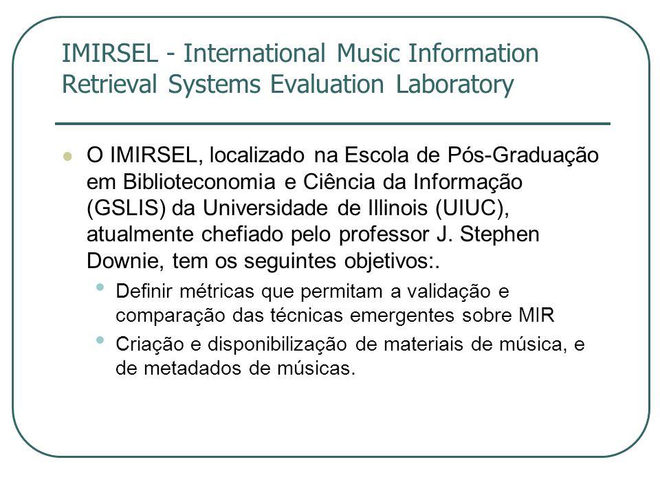 IMIRSEL - International Music Information Retrieval Systems Evaluation Laboratory  O IMIRSEL, localizado na Escola de Pós-Graduação em Biblioteconomia e Ciência da Informação (GSLIS) da Universidade de Illinois (UIUC), atualmente chefiado pelo professor J.