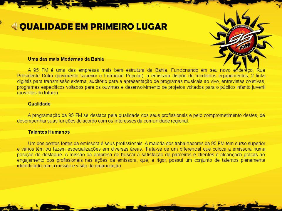 Uma das mais Modernas da Bahia A 95 FM é uma das empresas mais bem estrutura da Bahia.