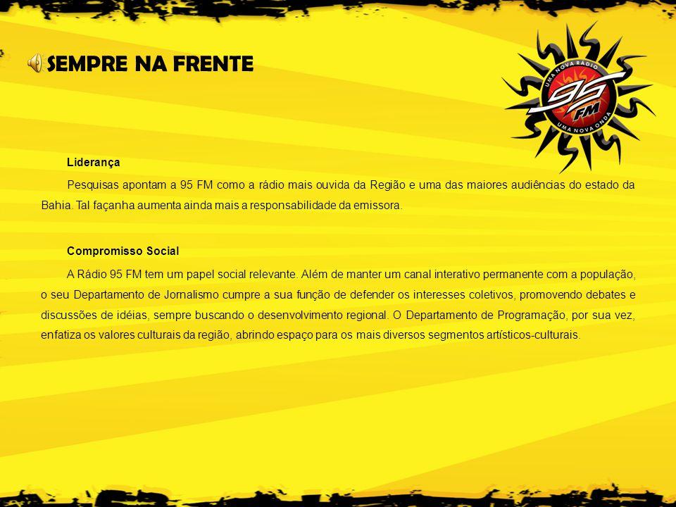 Liderança Pesquisas apontam a 95 FM como a rádio mais ouvida da Região e uma das maiores audiências do estado da Bahia.