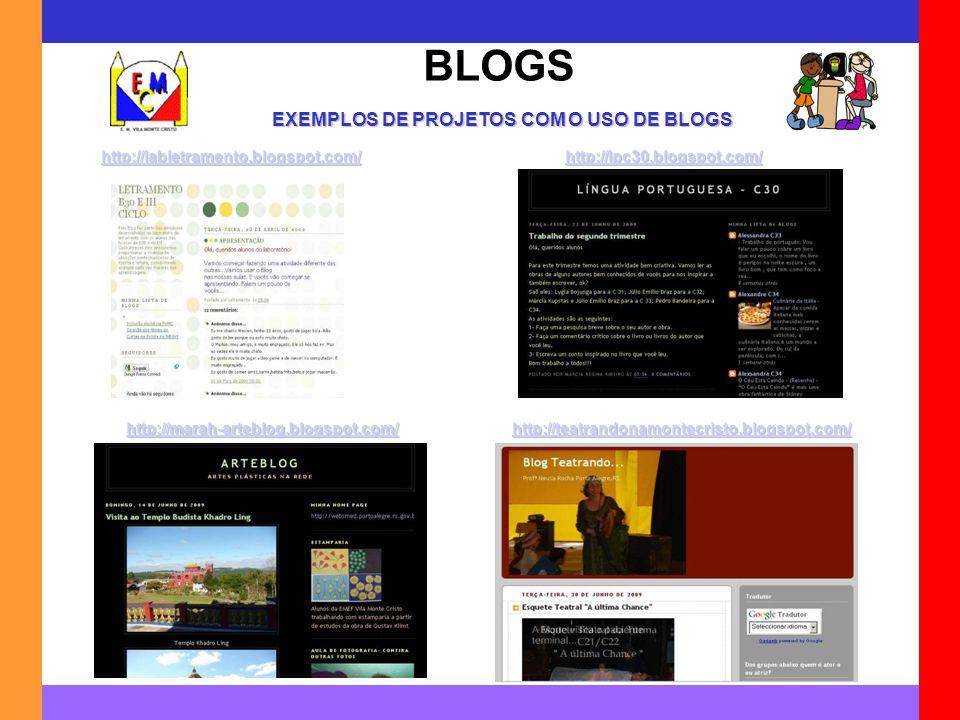 BLOGS http://labletramento.blogspot.com/ EXEMPLOS DE PROJETOS COM O USO DE BLOGS http://lpc30.blogspot.com/ http://marah-arteblog.blogspot.com/ http:/