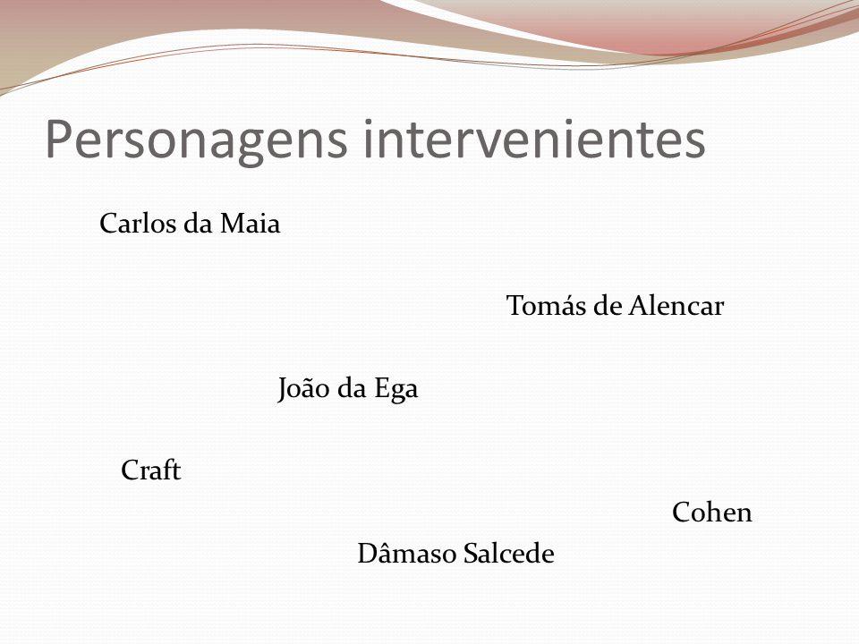 Personagens intervenientes Carlos da Maia Tomás de Alencar João da Ega Craft Cohen Dâmaso Salcede
