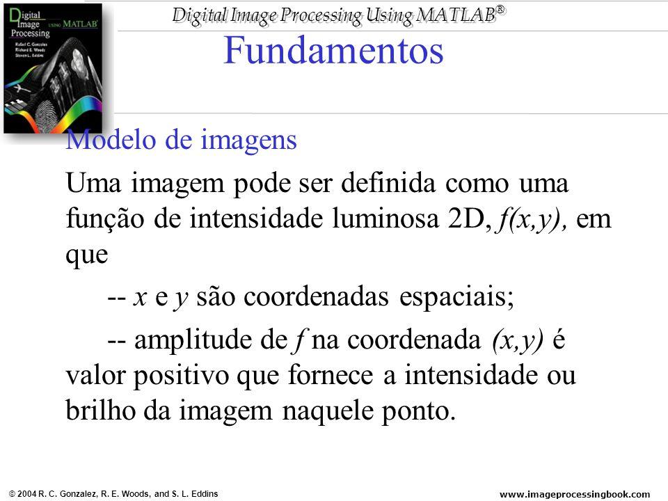 www.imageprocessingbook.com © 2004 R. C. Gonzalez, R. E. Woods, and S. L. Eddins Digital Image Processing Using MATLAB ® Fundamentos Modelo de imagens