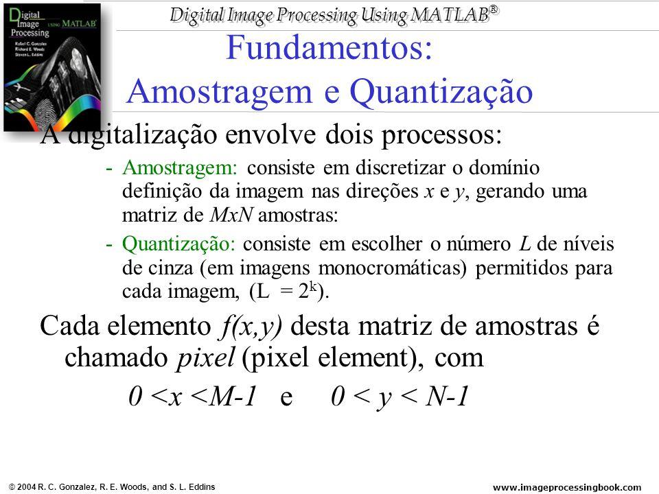 www.imageprocessingbook.com © 2004 R. C. Gonzalez, R. E. Woods, and S. L. Eddins Digital Image Processing Using MATLAB ® Fundamentos: Amostragem e Qua