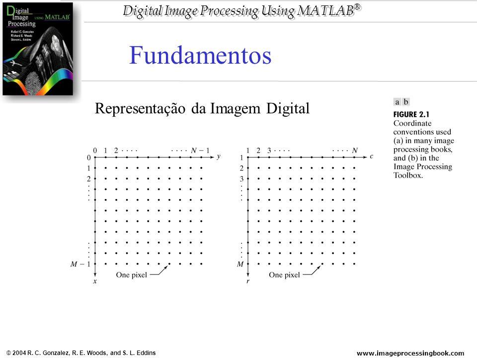 www.imageprocessingbook.com © 2004 R. C. Gonzalez, R. E. Woods, and S. L. Eddins Digital Image Processing Using MATLAB ® Representação da Imagem Digit