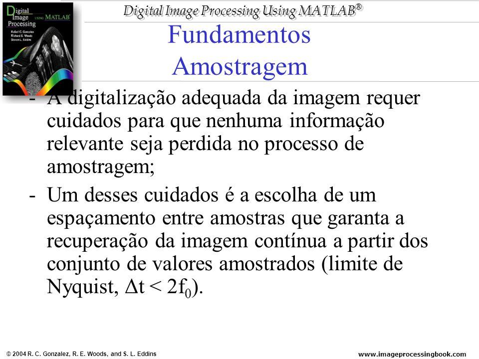 www.imageprocessingbook.com © 2004 R. C. Gonzalez, R. E. Woods, and S. L. Eddins Digital Image Processing Using MATLAB ® Fundamentos Amostragem -A dig