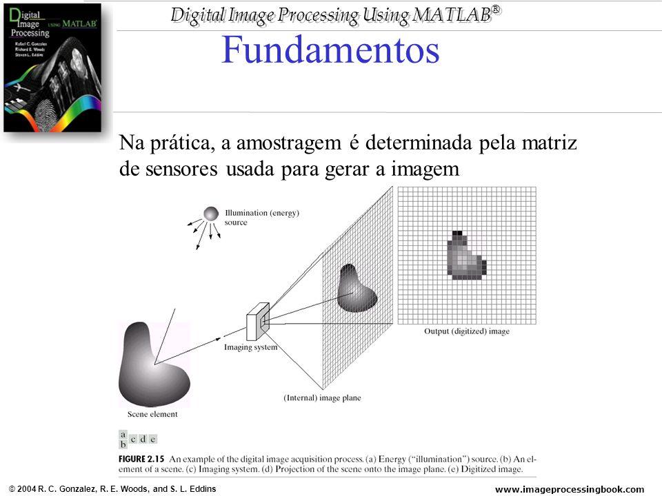 www.imageprocessingbook.com © 2004 R. C. Gonzalez, R. E. Woods, and S. L. Eddins Digital Image Processing Using MATLAB ® Fundamentos Na prática, a amo