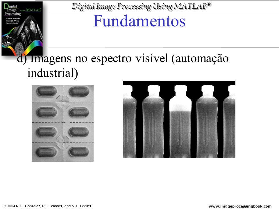 www.imageprocessingbook.com © 2004 R. C. Gonzalez, R. E. Woods, and S. L. Eddins Digital Image Processing Using MATLAB ® Fundamentos d) Imagens no esp