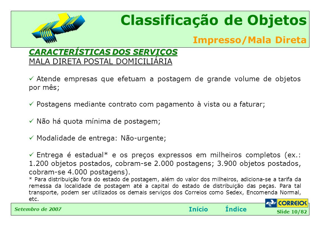 Slide 10/82 Setembro de 2007 Classificação de Objetos Impresso/Mala Direta InícioÍndice CARACTERÍSTICAS DOS SERVIÇOS MALA DIRETA POSTAL DOMICILIÁRIA 