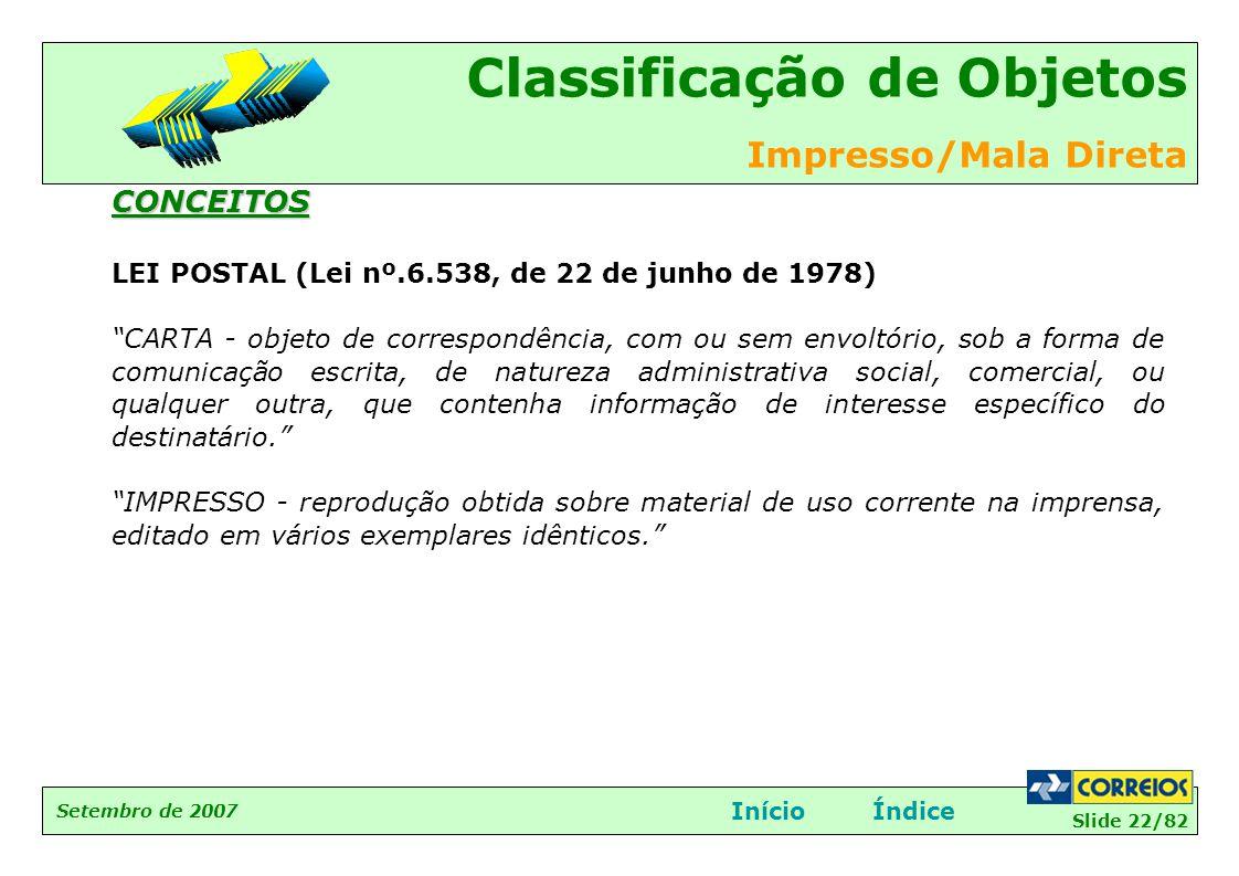 """Slide 22/82 Setembro de 2007 Classificação de Objetos Impresso/Mala Direta InícioÍndiceCONCEITOS LEI POSTAL (Lei nº.6.538, de 22 de junho de 1978) """"CA"""