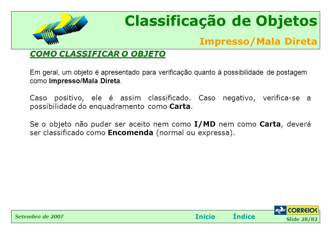 Slide 28/82 Setembro de 2007 Classificação de Objetos Impresso/Mala Direta InícioÍndice COMO CLASSIFICAR O OBJETO Em geral, um objeto é apresentado pa