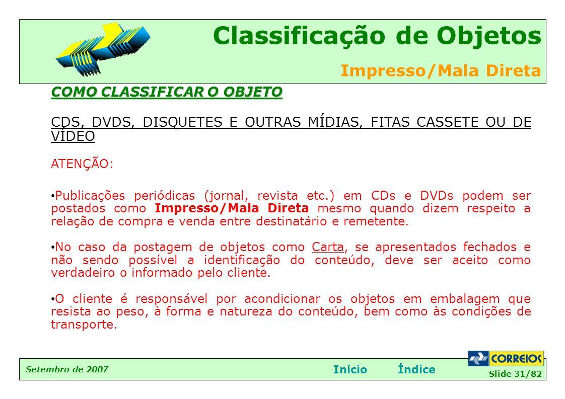 Slide 31/82 Setembro de 2007 Classificação de Objetos Impresso/Mala Direta InícioÍndice COMO CLASSIFICAR O OBJETO CDS, DVDS, DISQUETES E OUTRAS MÍDIAS