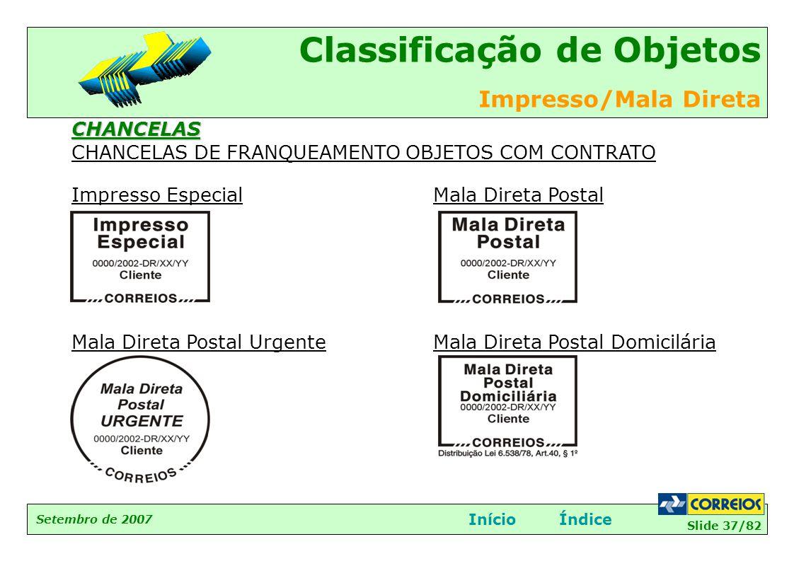 Slide 37/82 Setembro de 2007 Classificação de Objetos Impresso/Mala Direta InícioÍndice Impresso Especial Mala Direta Postal Urgente Mala Direta Posta